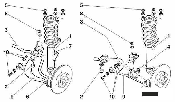 Подвеска: рычаги, шаровые опоры, рулевые наконечники, рулевые тяги, стабилизаторы, тяги (стойки) стабилизатора, втулки стабилизатора, амортизаторы, пружины