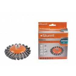 """5240402 Корщетка-насадка для УШМ Sturm! тип """"колесо"""" с наклоном, М14, D125мм"""